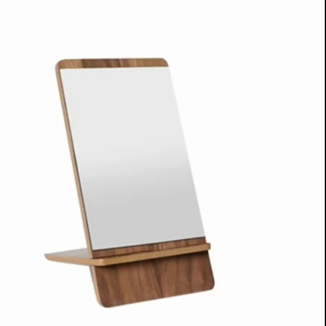 Espelho cosmético de madeira criativo cortado a laser