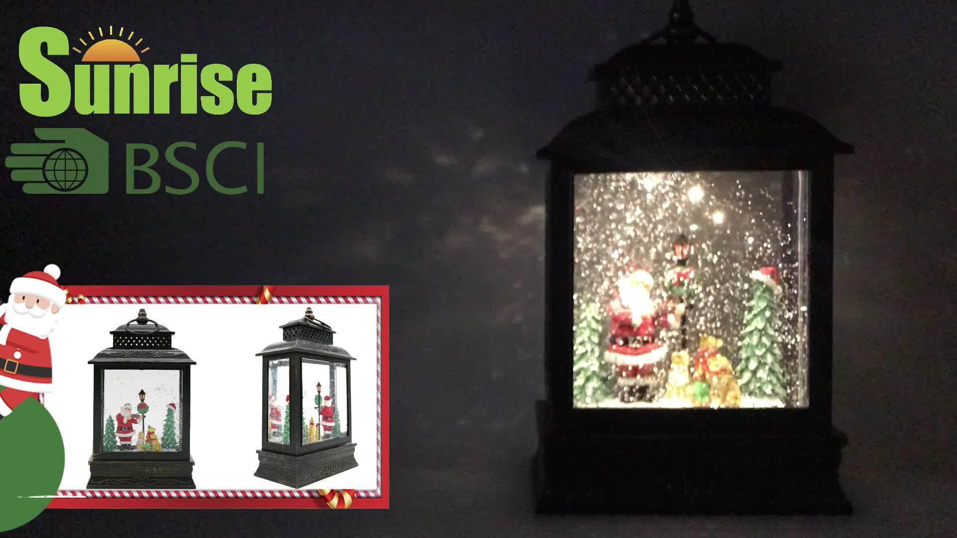 """11""""H resin lighted Christmas lantern gift with spinning water snow globe  and glitter & free sample"""