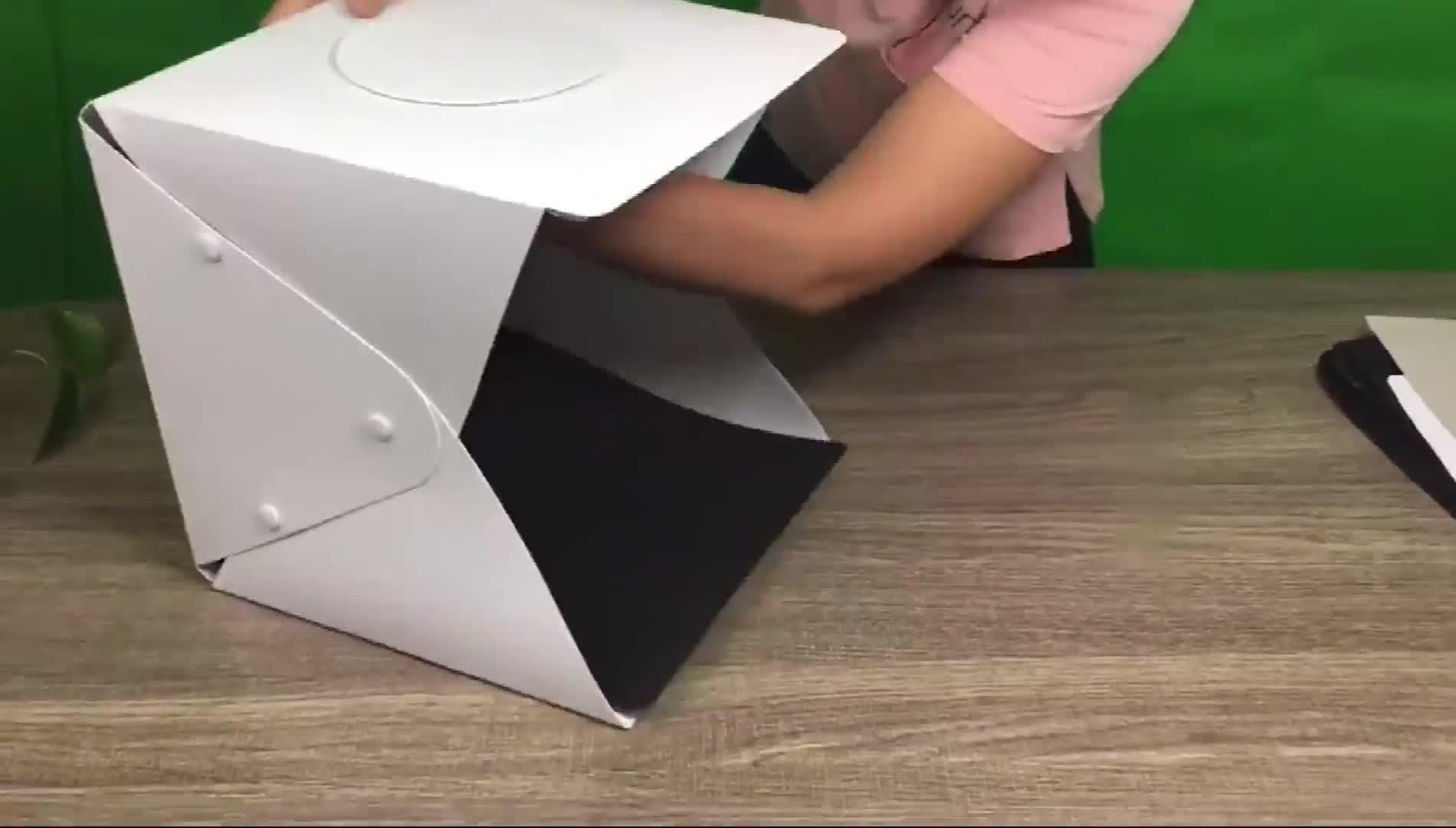Portable Mini White Box Backdrop built-in LED Light Photography Light Box 22.6cm x 23cm x 24cm