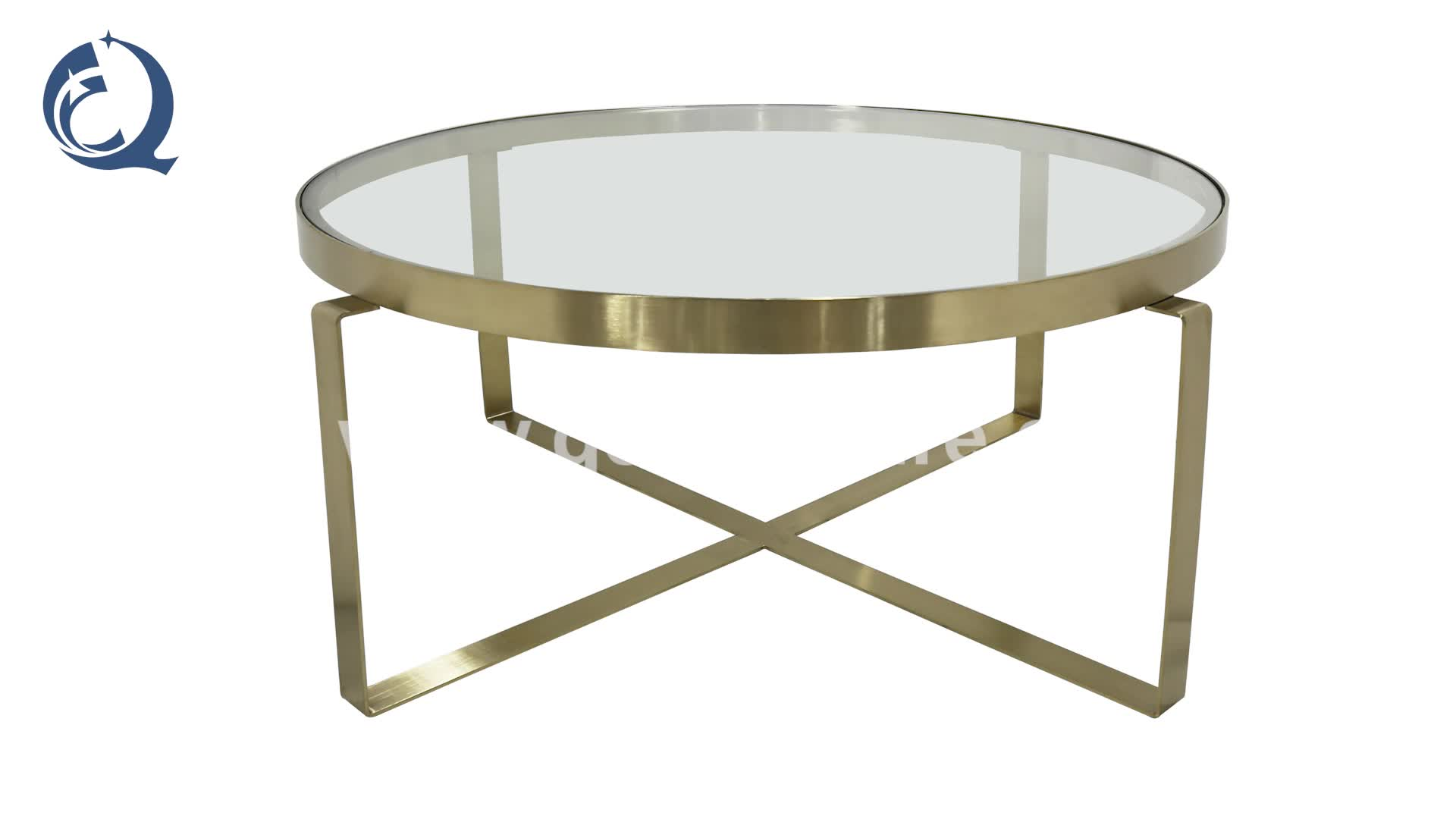 Nordic style round glass golden stainless steel coffee table