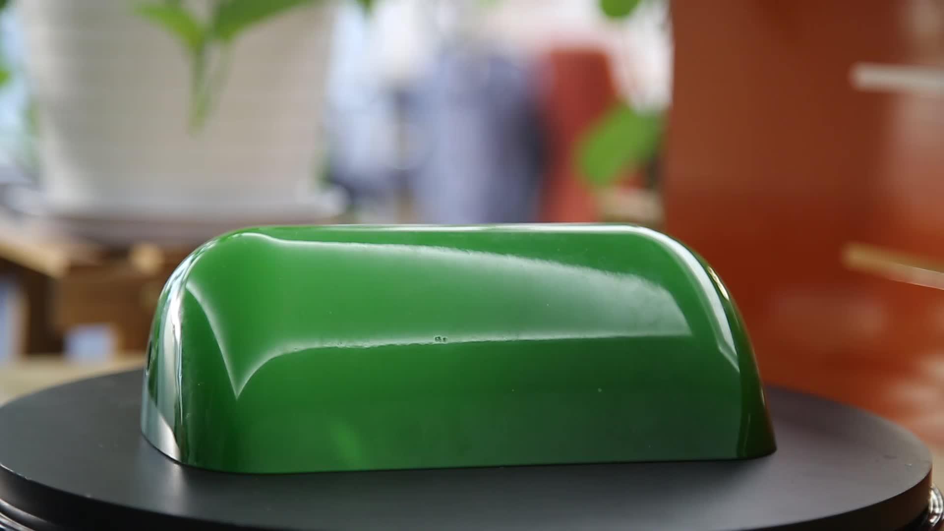 handblown green color bankers  table lamp shade