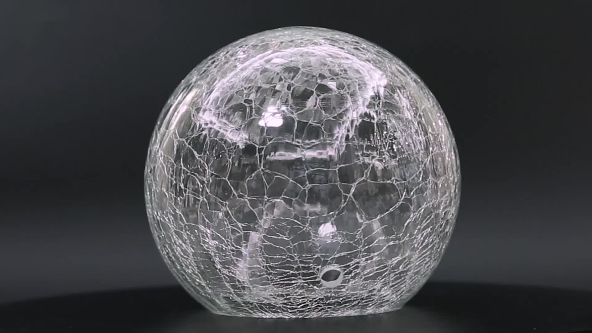 Mouth Blown Clear Crackle Glass Lamp Globe Shade for Solar Light Fitting Parts