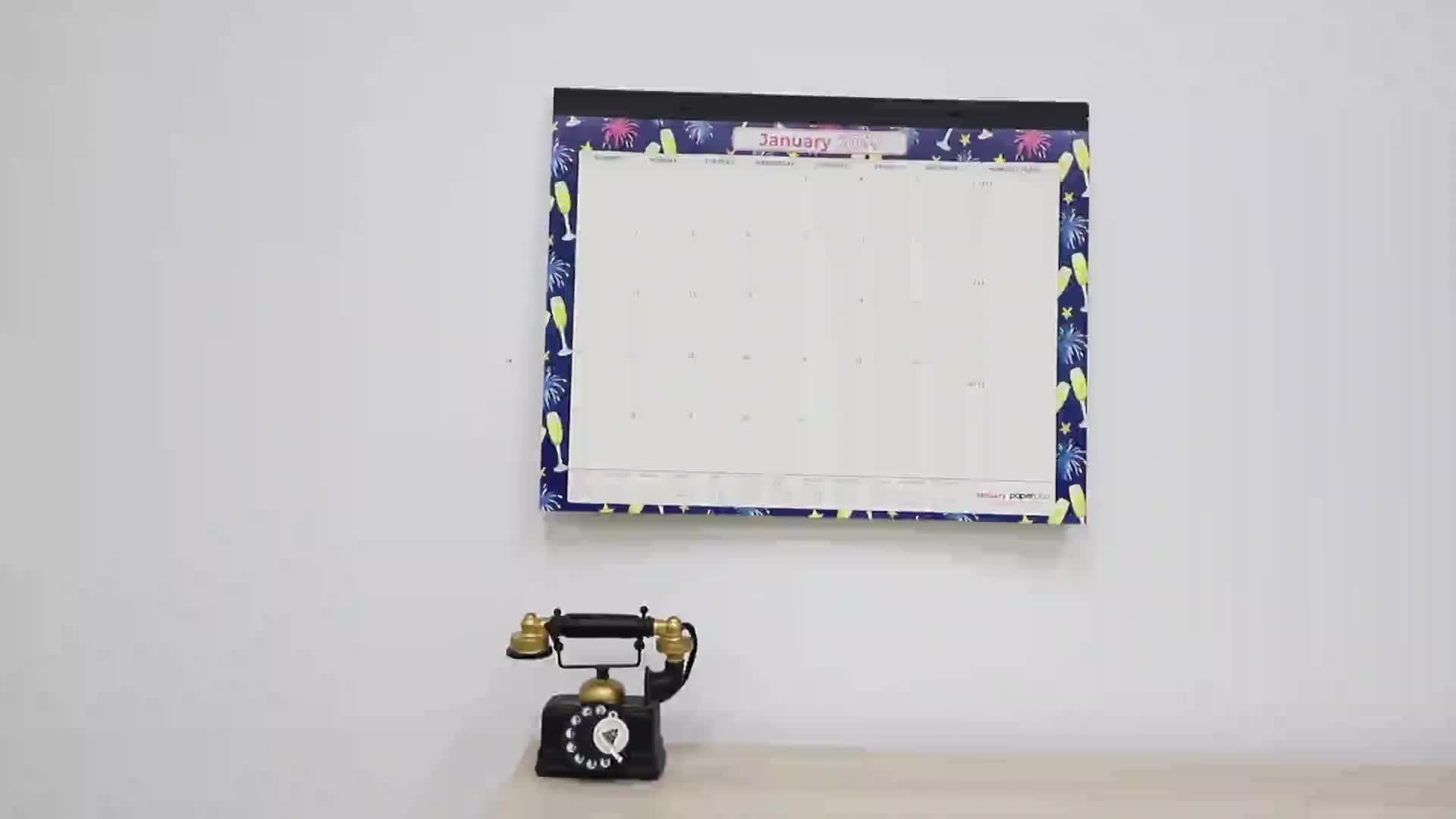 Amazon Vendita Calda 2019 Annuale Mensile Scrivania Pad Calendario 22 ''X 17'' Della Parete Planner Ad Angolo In Pelle Tavolo Planner stampa del calendario