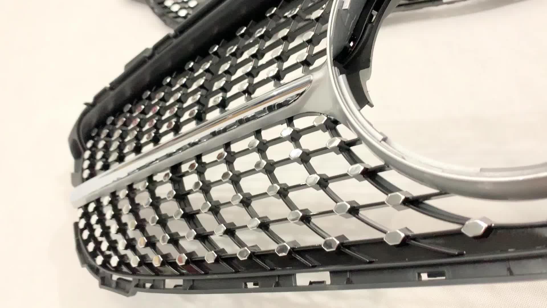RTS 、ベンツ w205 C クラスグリルの変更にメルセデスベンツ W205 ダイヤモンドスタイルシルバー高 guality 一般的なフロントグリル
