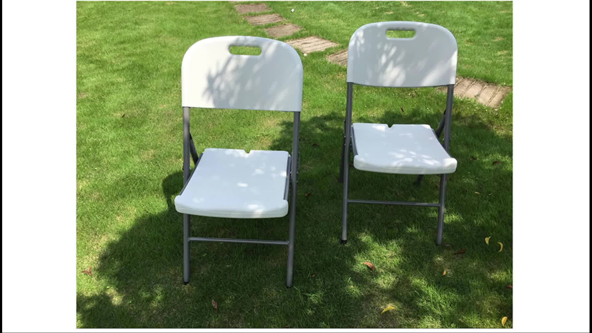 white resin plastic chair foldable with metal legs wholesale HDPE camping wedding banquet folding chair