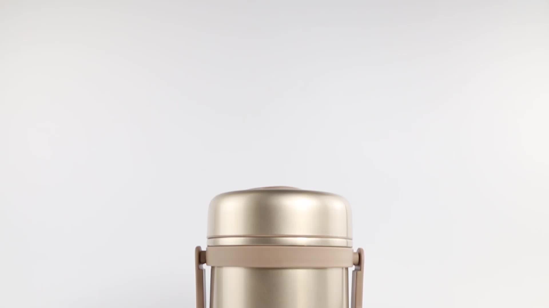 Individuelle vakuum metall isolierte lebensmittel container doppel wand tiffin träger 2 schicht thermische edelstahl lunch box mit griff