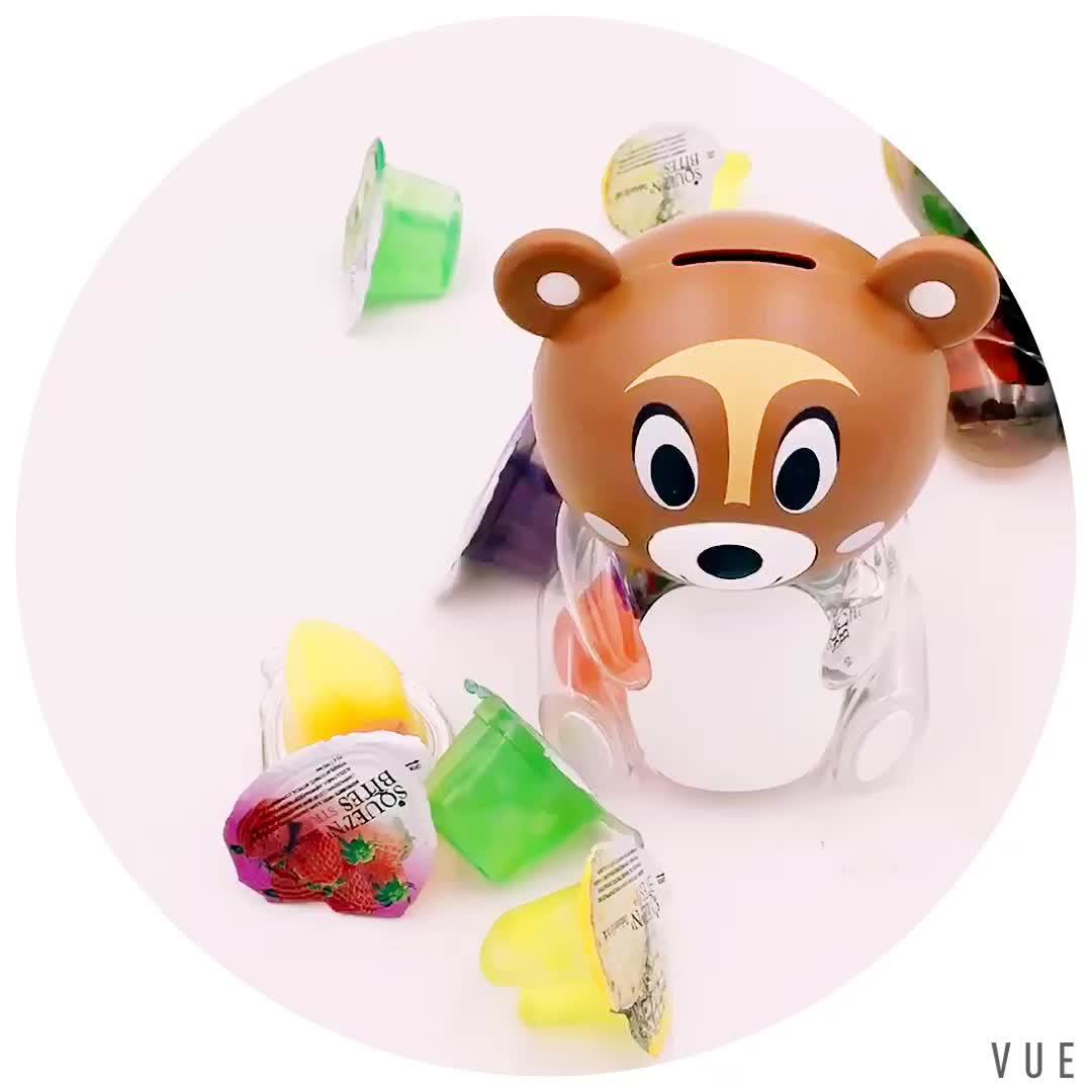 कार्टून भालू आकार बचत पॉट खिलौना सुसज्जित मीठा जेली
