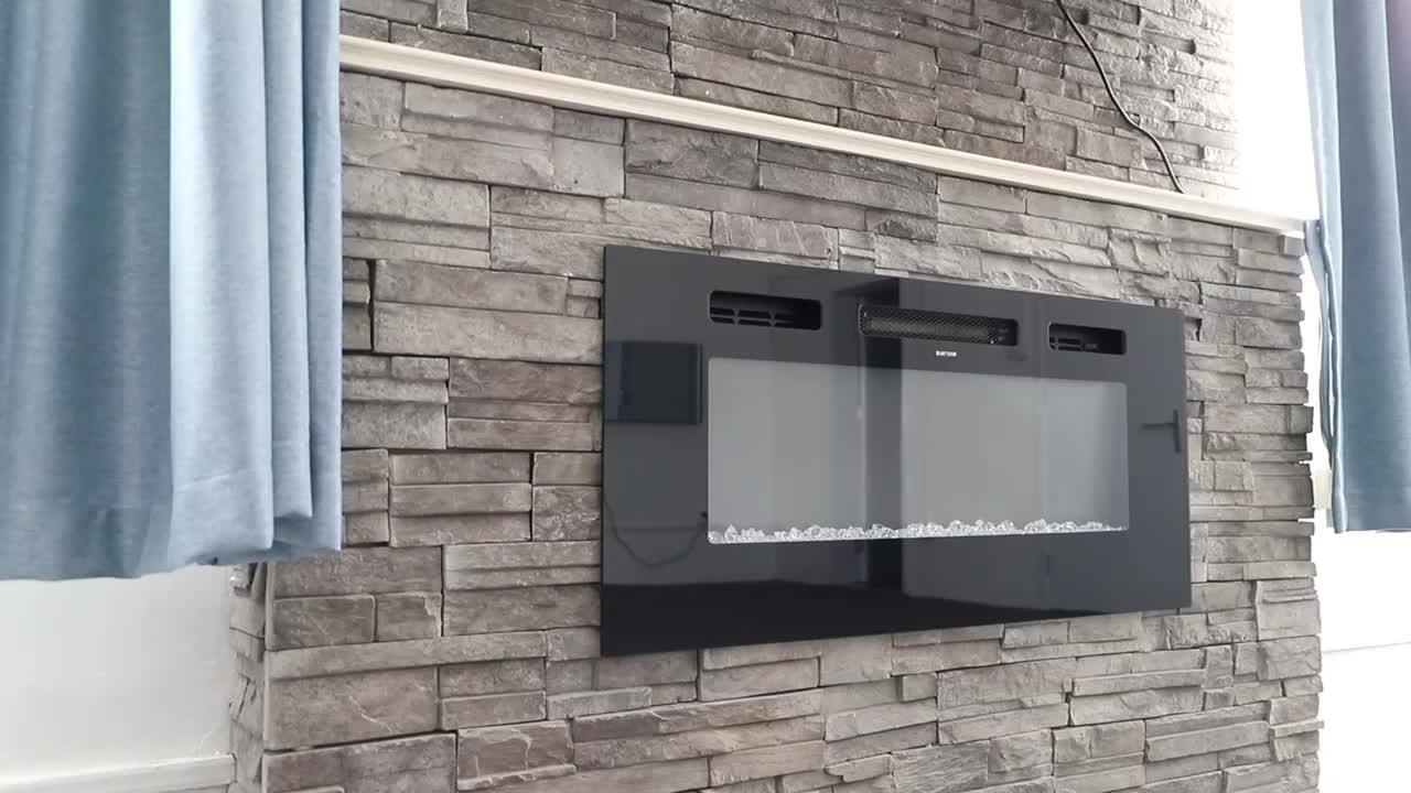 """50 """"सुपर बड़े सजावट लौ दीवार घुड़सवार recessed स्टील बिक्री के लिए आधुनिक बिजली के चिमनी"""