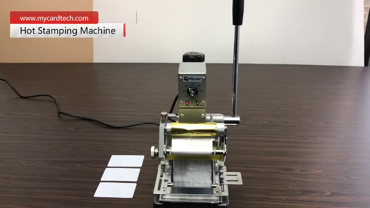 Hot foil stamping machine for PVC business cards