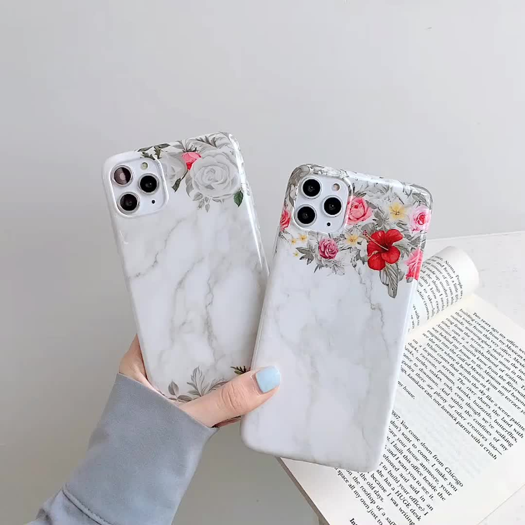 For iPhone 11 Pro Max Flower Case Girls Marble Print IMD Rose Floral Design 6 7 8 Plus X XS Max Phone Fundas Soft Cover Womens