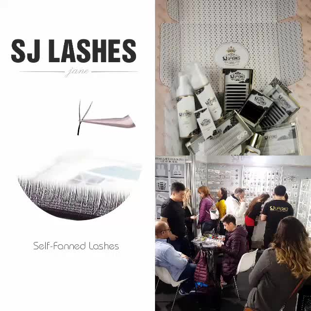 SJ eyelash extension 0.03/.05/.07/.10/.12/.15/.18/.20/.23/.25/.30mm thickness in curl C/D/J/B with private label box