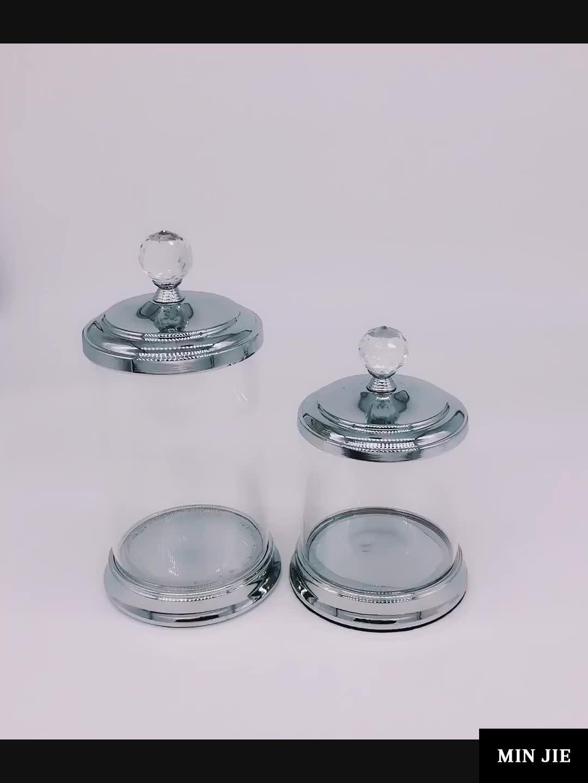 Cam Kavanoz Dekoratif Kristal Teraryum Temizle Yuvarlak Özel Satış Boş Kremalı Kurabiye Şeker Metal Kapaklı Konteynerler Depolama Cam Kavanoz