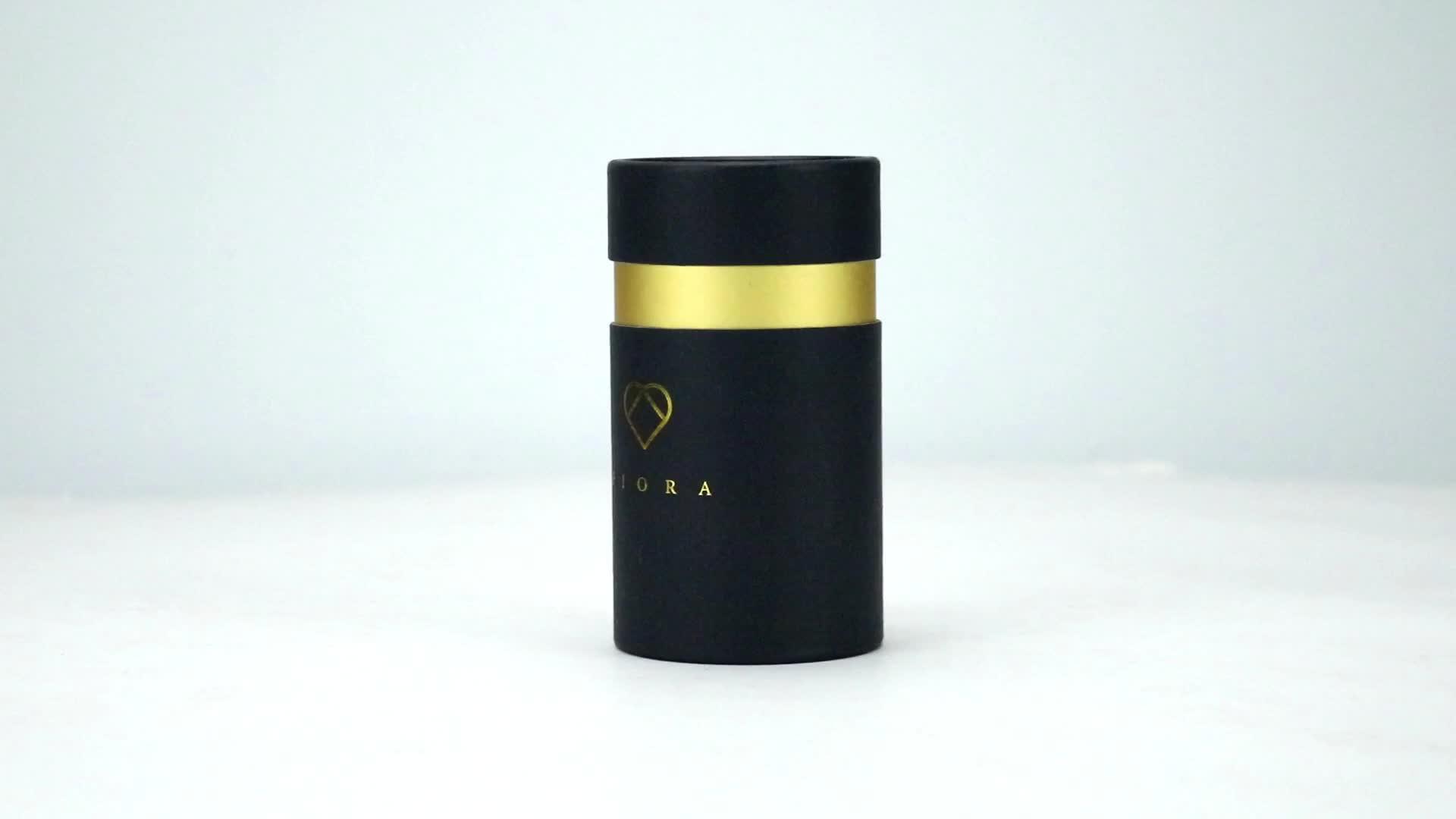 Nieuwe product gerecycled zwart papier buis verpakking met Zilveren logo