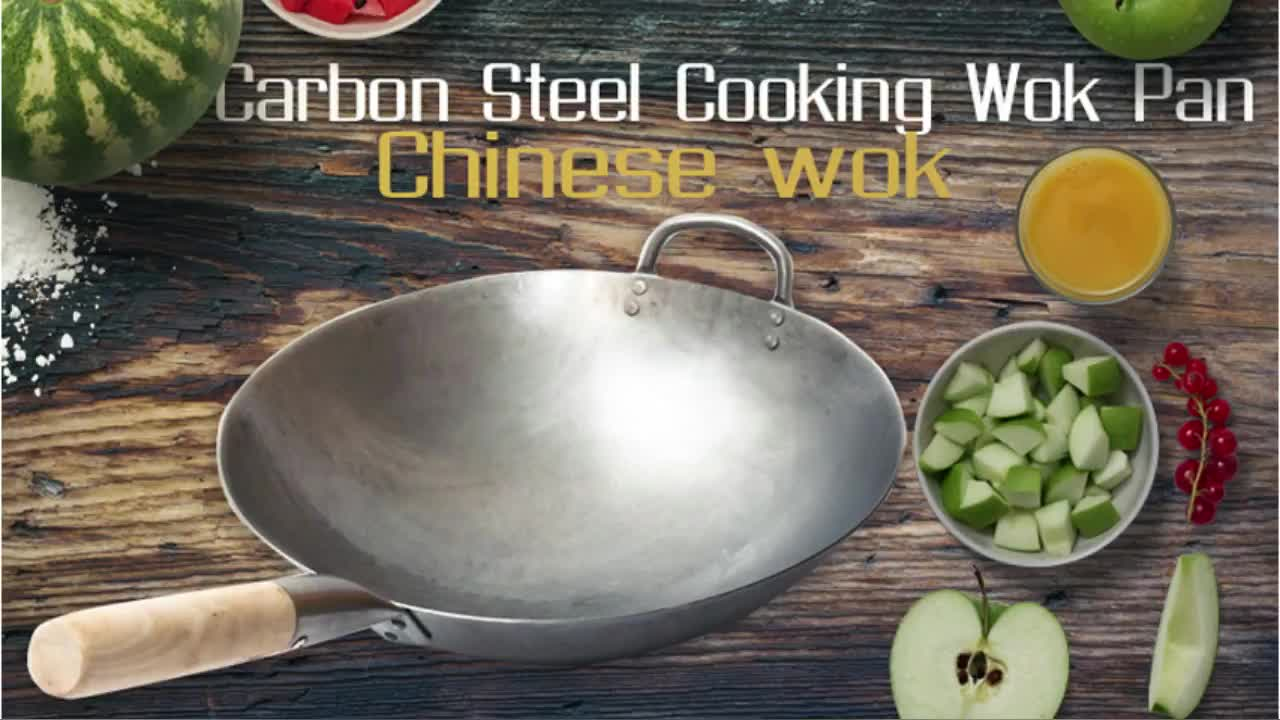 Chinese Wooden handle Carbon Steel Wok With Wooden Handle and a iron ear