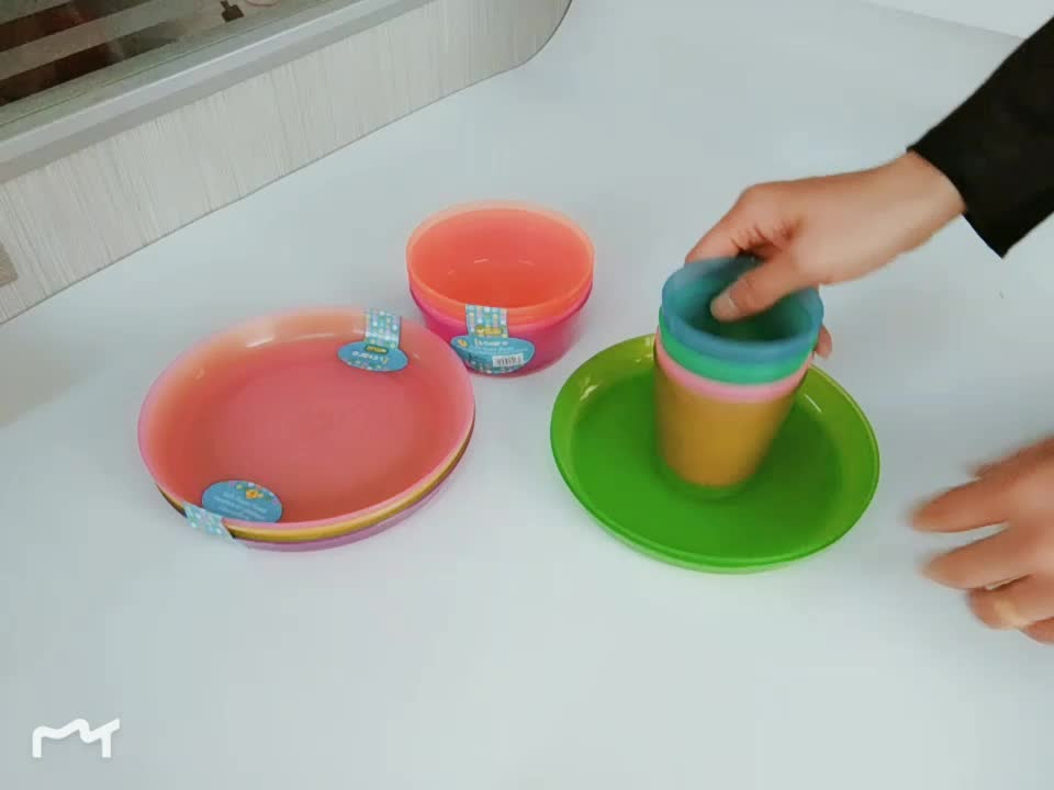 Dishwasher Safe BPA Free Reusable Plates Assorted Colors Kids Plastic Toddlers Plate