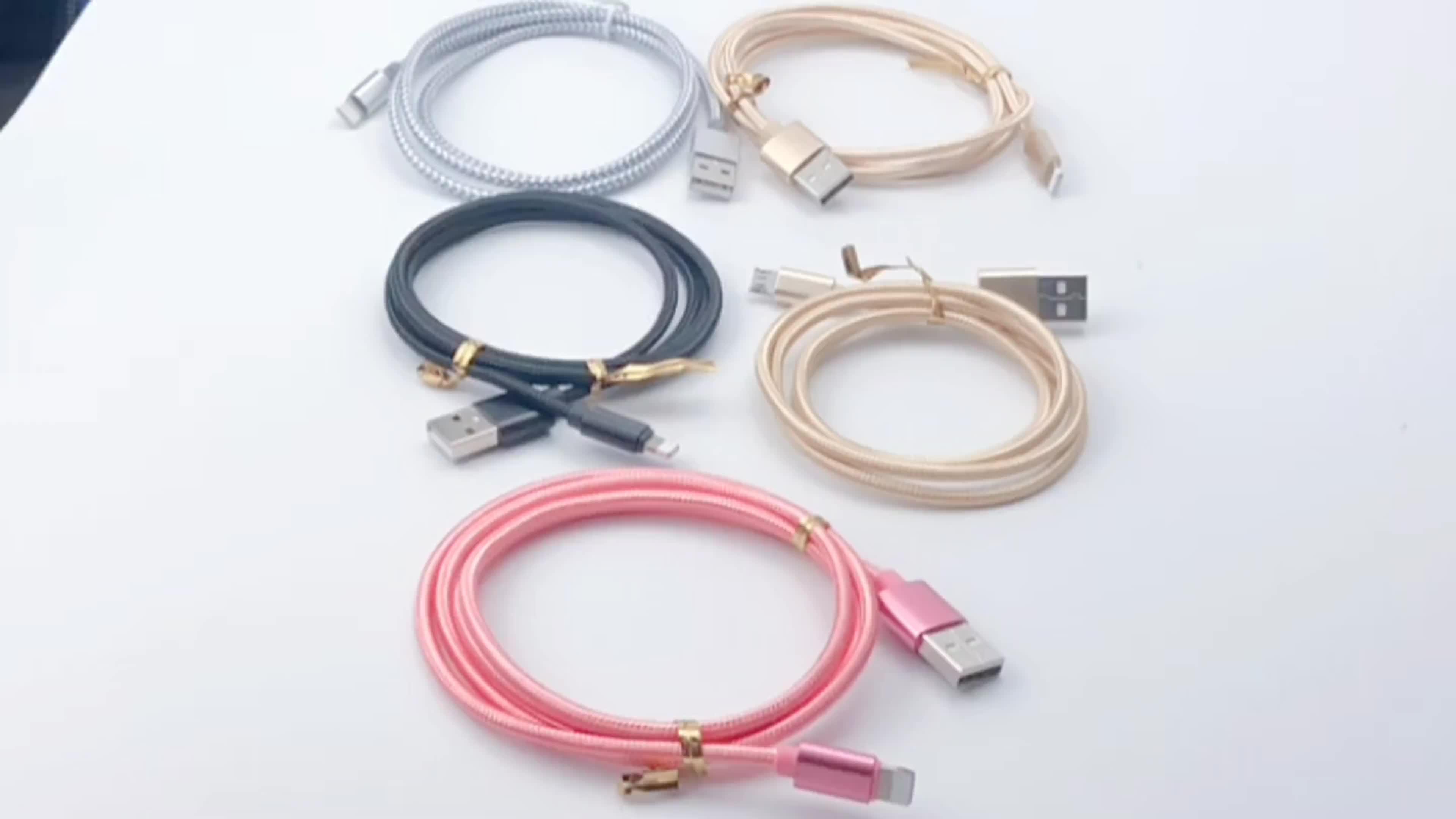 ขายส่งใหม่ 1 M 2.1A การชาร์จไฟอย่างรวดเร็วข้อมูลโทรศัพท์มือถือ Android Mini Type C Type - C Micro USB สำหรับ Samsung Iphone
