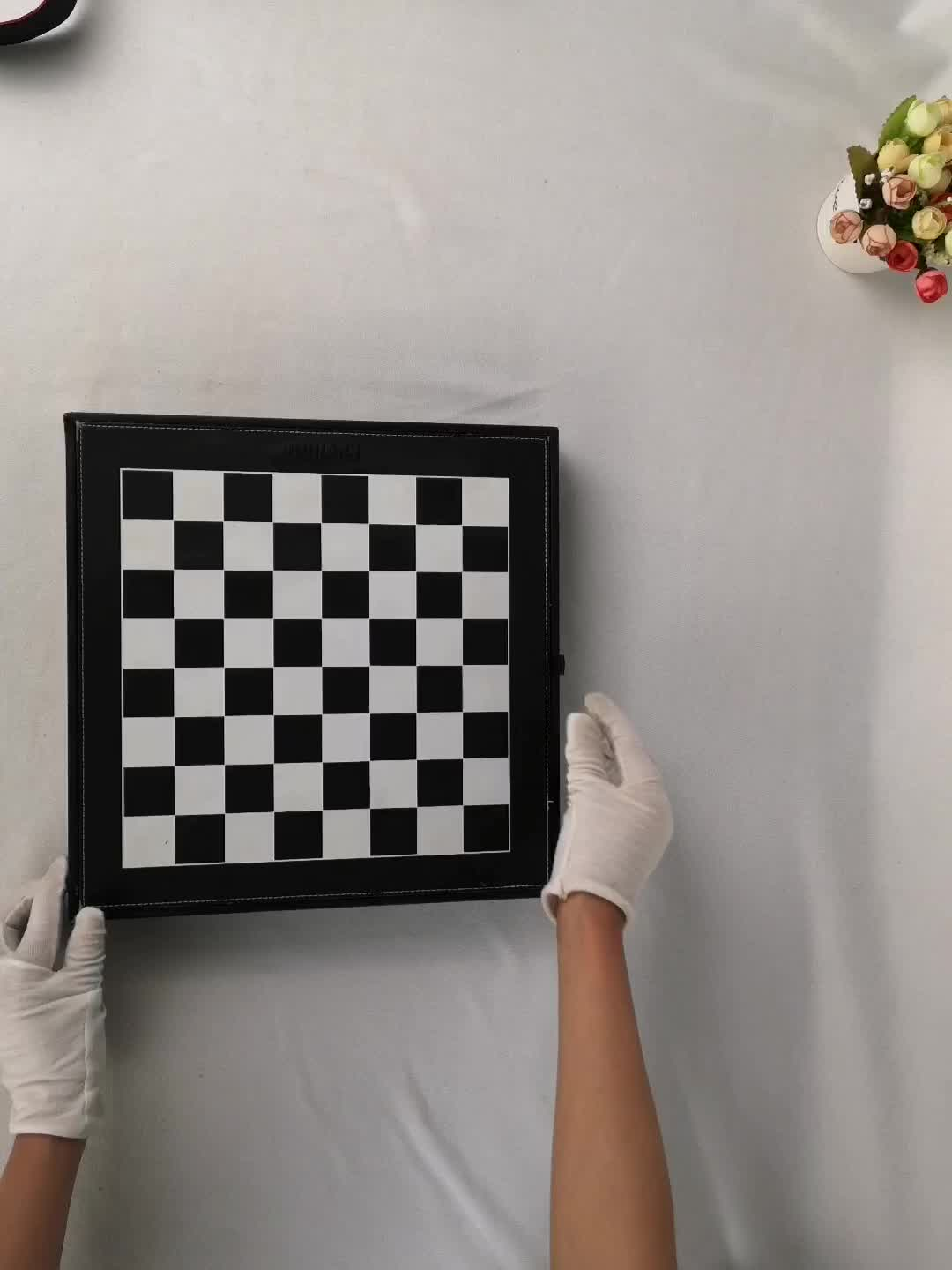 Vintage Leather Backgammon Chess Board With Drawers Glass Playing Pieces