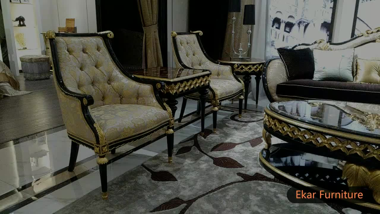 Arabic Royal Classic Fabric Sofa Set Living Room Gold Leaf Sofa
