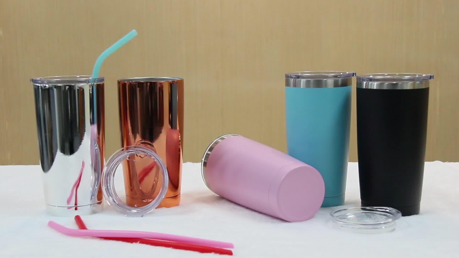 UV-20-oz-Weithals-Doppelwand-Vakuumisolierte Gold Edelstahl-Reise-Kaffeetasse mit BPA-freiem Schiebedeckel, Strohhalmen, Bürste