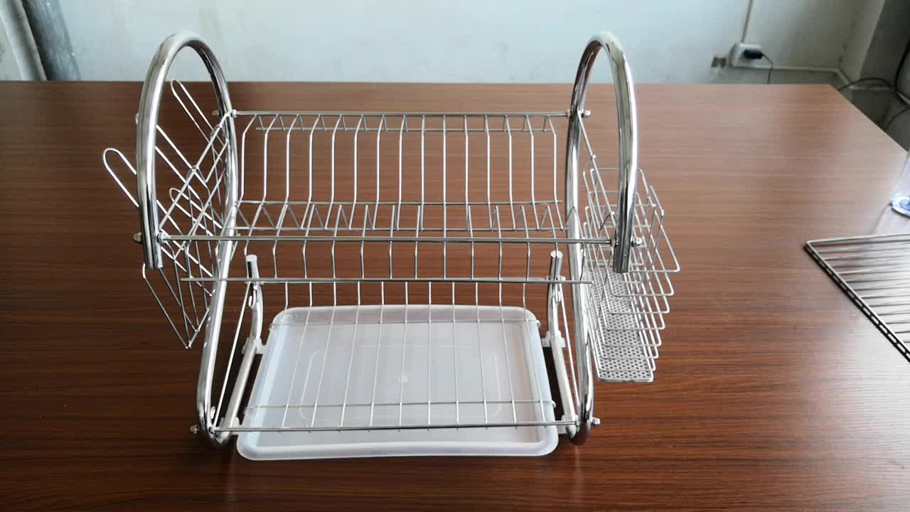 Hot selling Stainless Steel 2-Tier Kitchen Dish Rack Dish Drying Rack B  shape