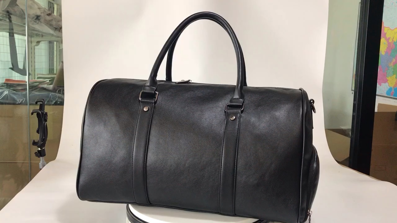 2020  Leather  Travelling bag Duffel Bag Holdall Weekend Gym Travel Bag with shoes compartment