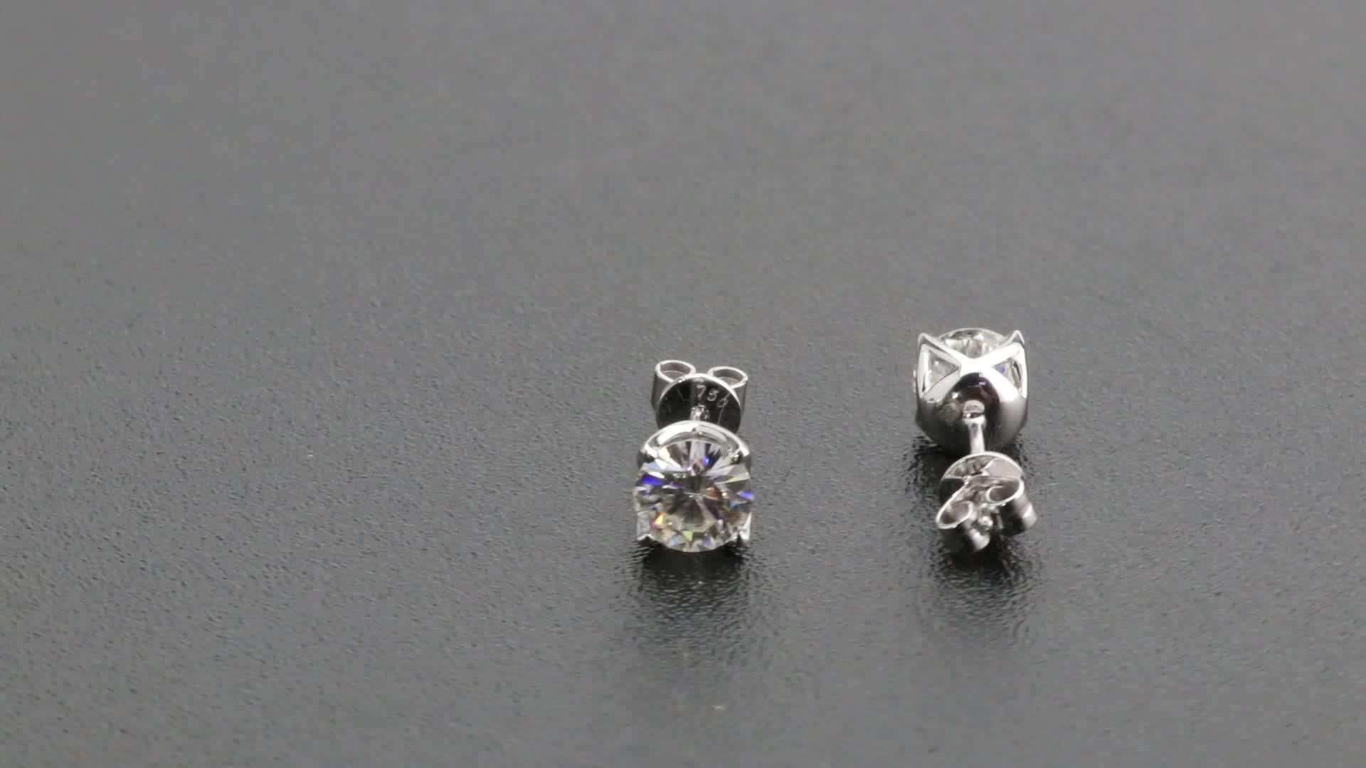 Petal prong setting Round moissanite diamond 1carat 18k genuine solid white gold stud earrings