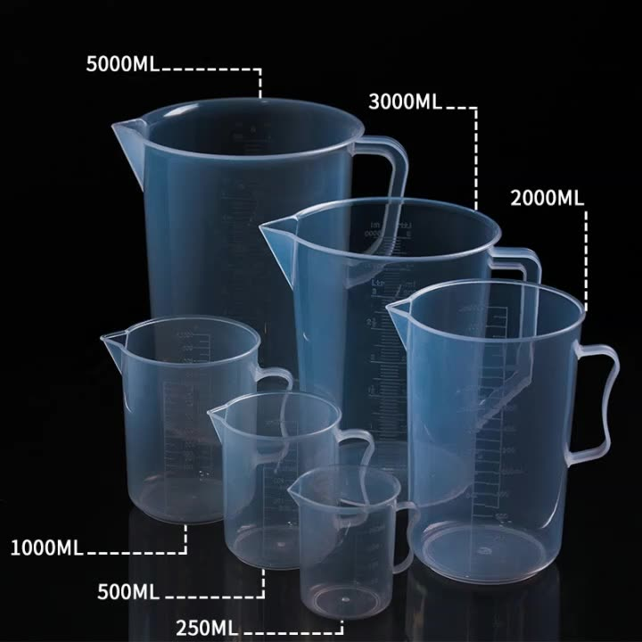 Plastic Beaker Set 6 Sizes 250ml 500ml 250ml 1000ml 2000ml 3000ml 5000ml with Molded Graduation