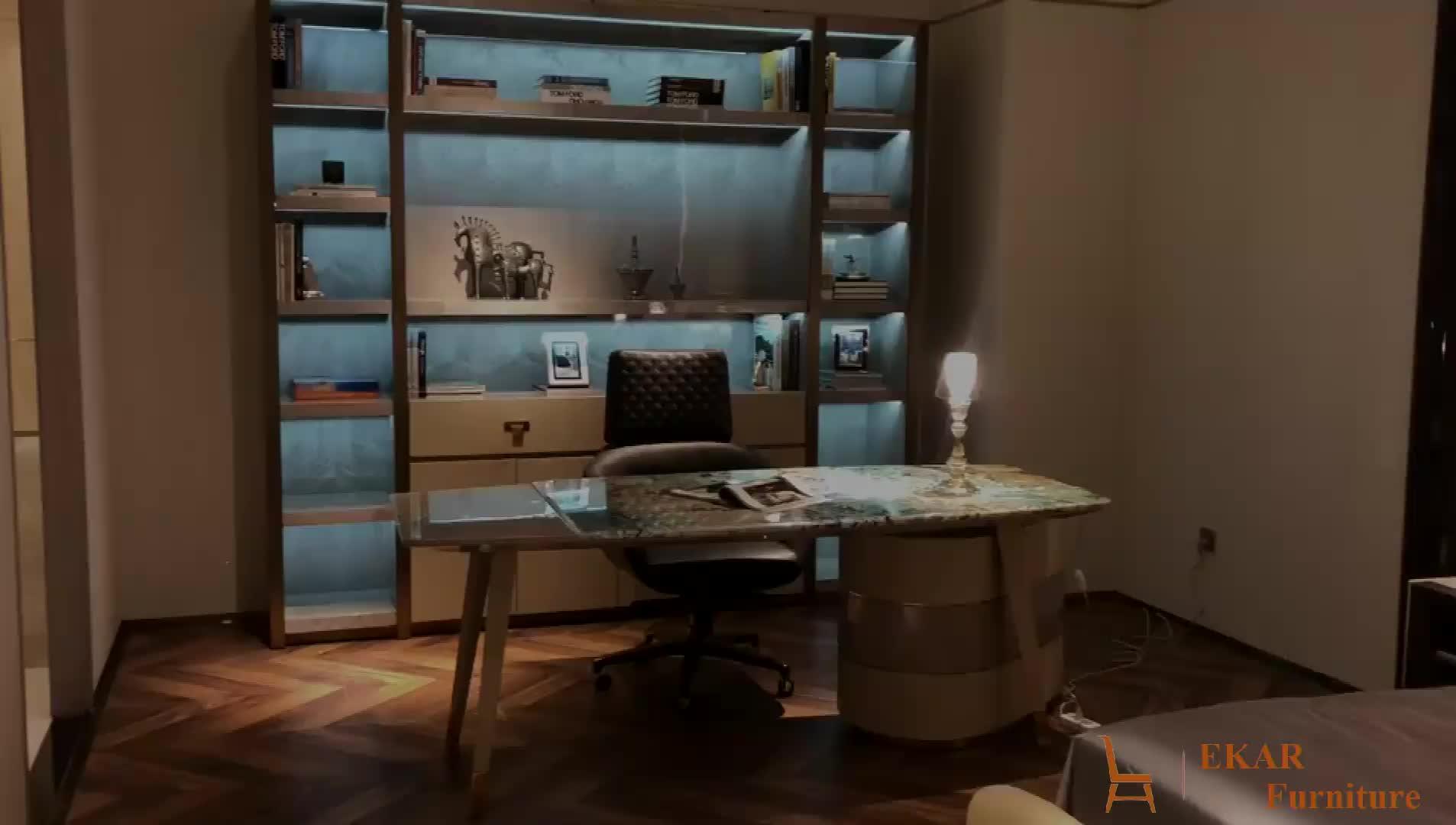 De mármol de lujo de alta brillo de casa moderna mesa de escritorio de oficina