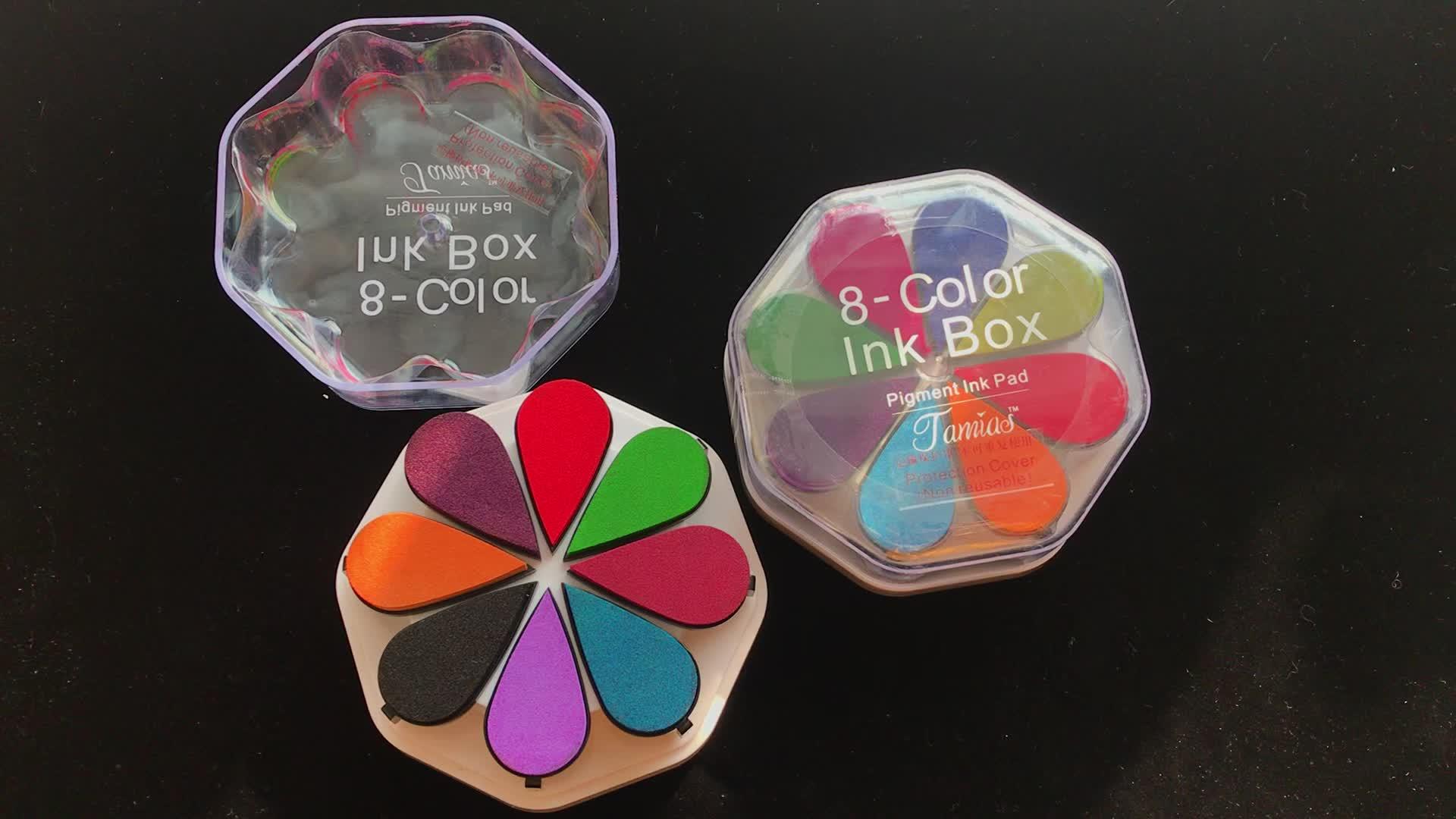 De alta calidad colorida combinación almohadilla de tinta de DIY para los niños de madera sello acrílico claro sello Material de esponja
