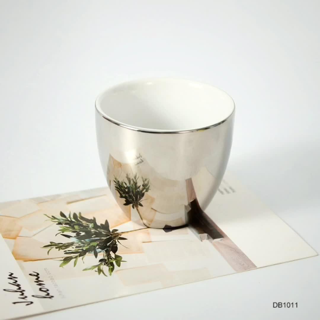 맞춤형 수제 친환경 재사용 반사 도자기 핸들 커피 컵 독특한 oem 미러 컵과 접시 세트