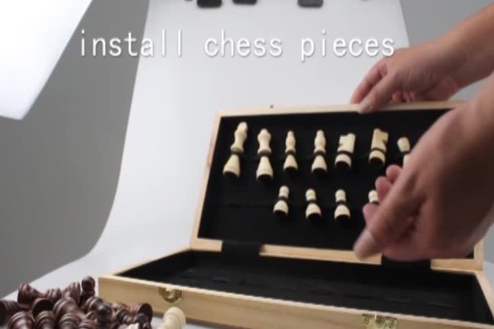 Luxury Inlaid Walnut-Style Wooden Chess Set Board Game with drawer and wood pieces