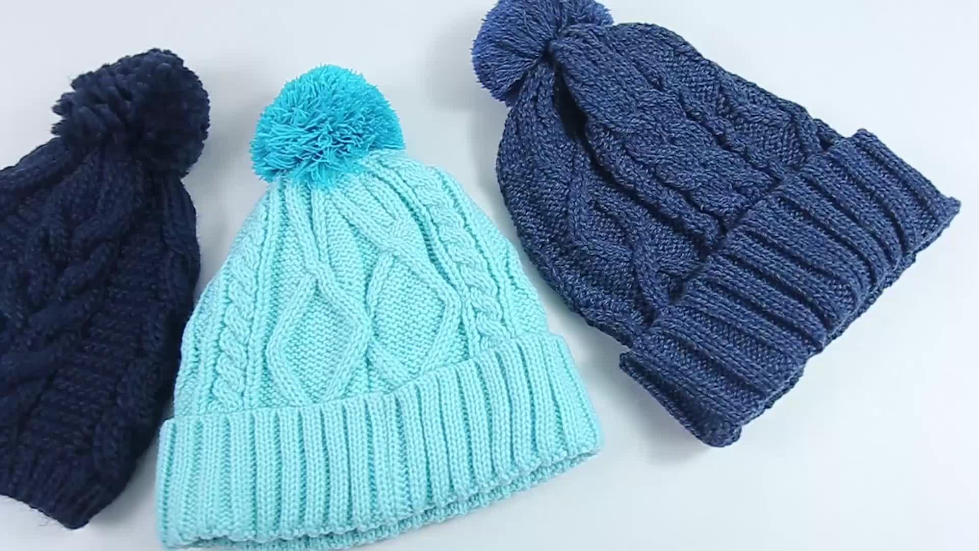 Design your own custom 100% Acrylic sport beanie cap wholesale men knit hat with Pom Pom