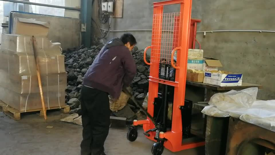 1000 2000 3000kg 1 2 3 ton hydraulic manual hand forklift pallet stacker price 1.6 2 3m