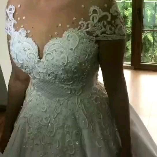 Ball Gown Wedding Dresses White Lace Bridal Gowns 2020 Bridal Wedding Dresses Dubai Luxury Wedding Gowns Stain Bridal Dresses