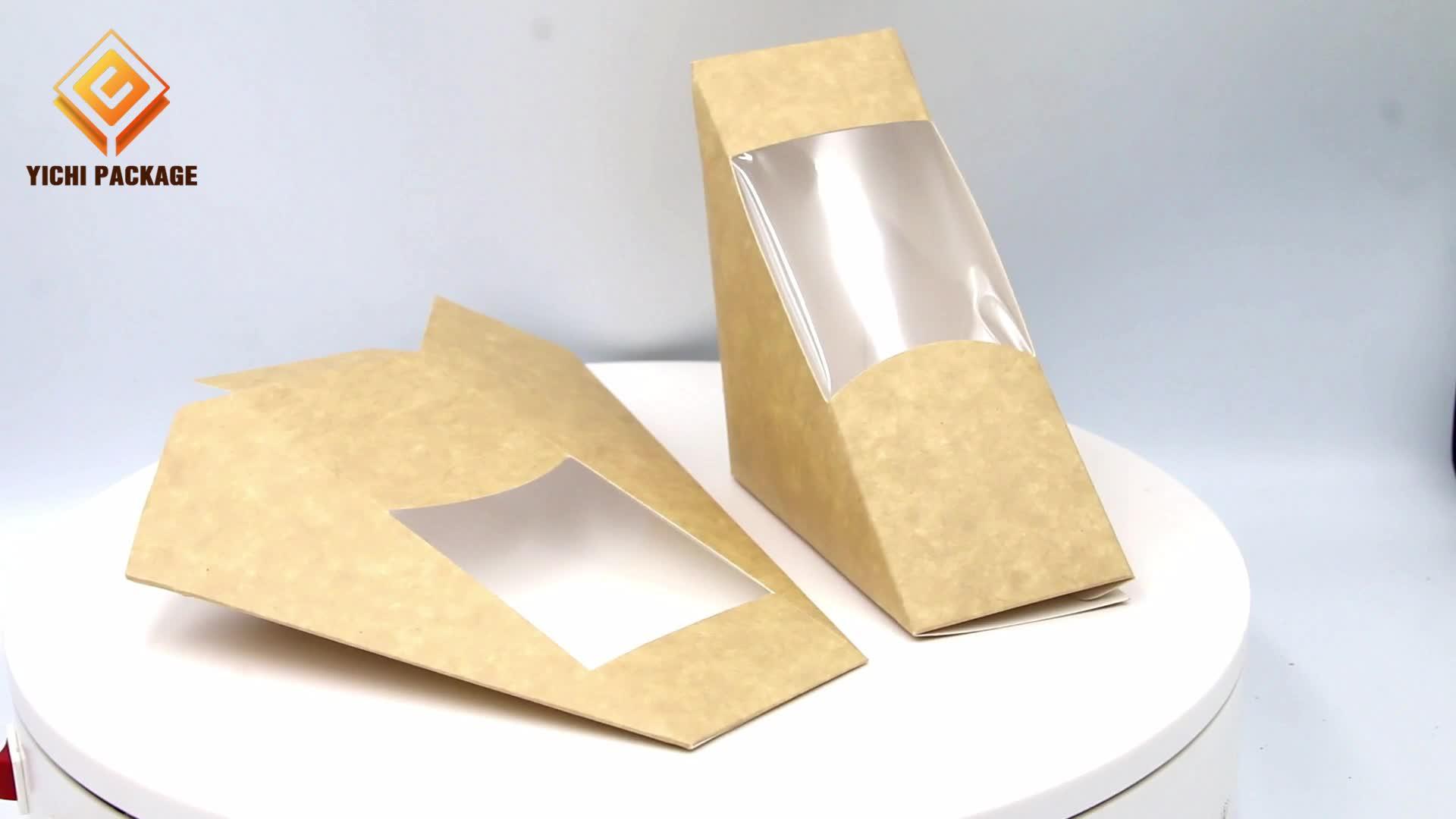 Biologisch abbaubar braun kraft papier box, kompostierbar kraft papier sandwich box