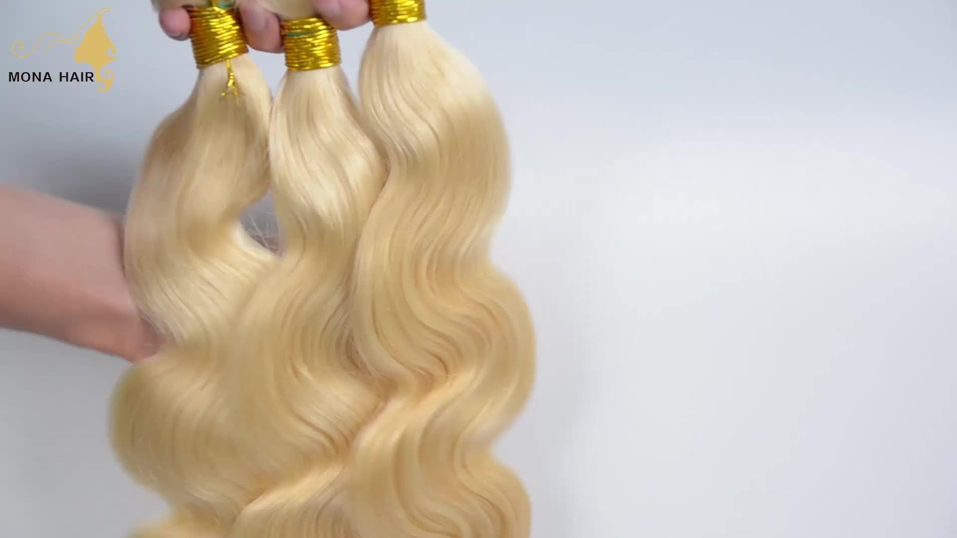 Raw cabelo vietnam atacado duplo trama sew em extensões do cabelo humano loiro