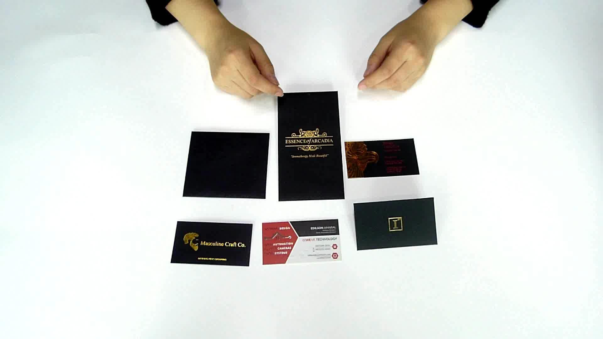 Alta calidad de encargo en relieve y oro/plata caliente sello de aluminio negro negocio tarjetas de nombre