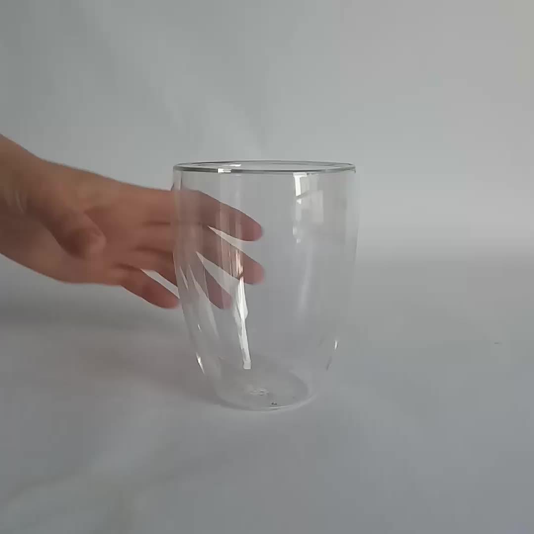 二重壁カップガラス断熱熱マグのための茶コーヒーガラスマグ