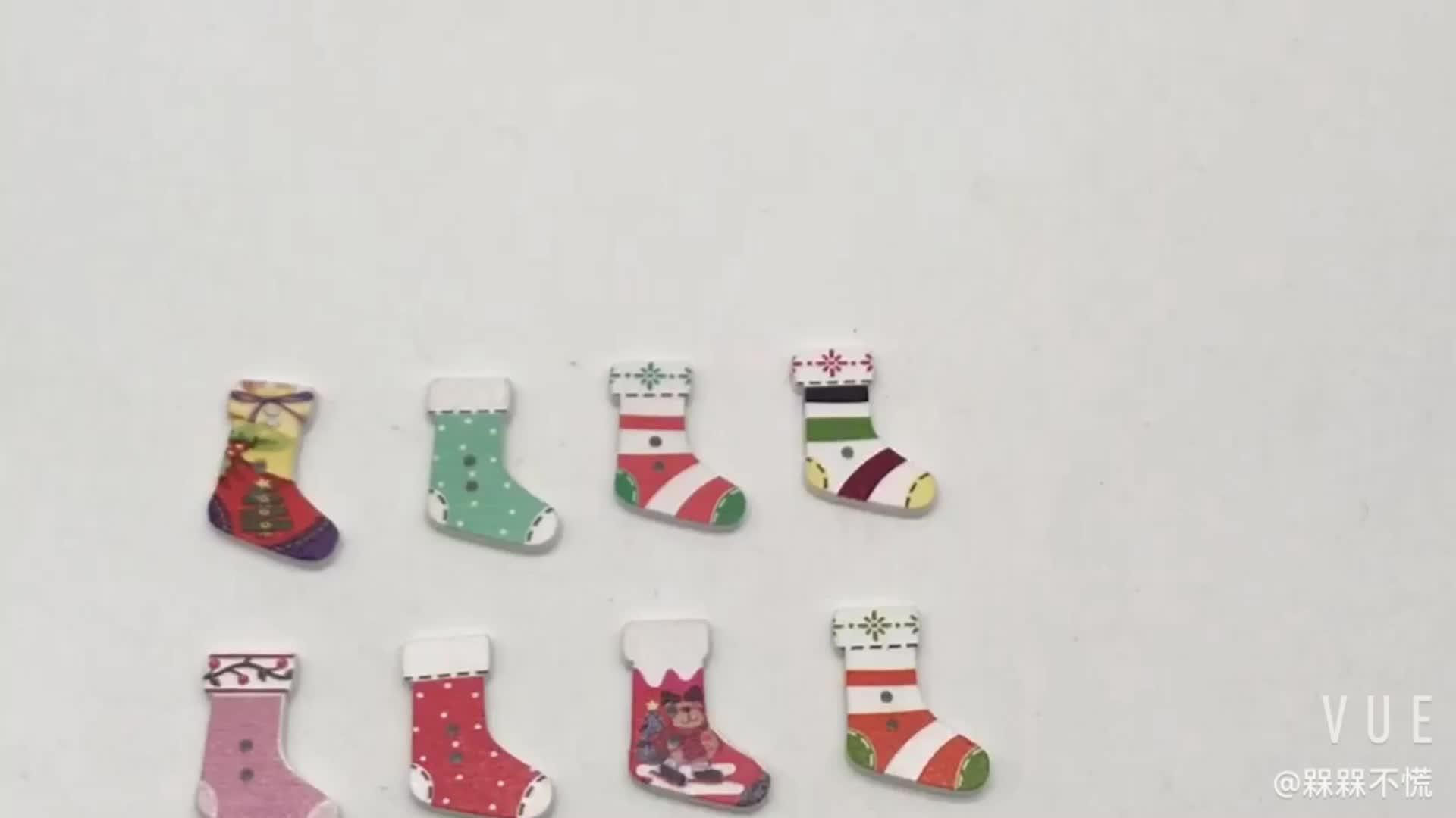 100 個、縫製ボタン、 diy の靴下ベルボタン、木製クリスマスボタン