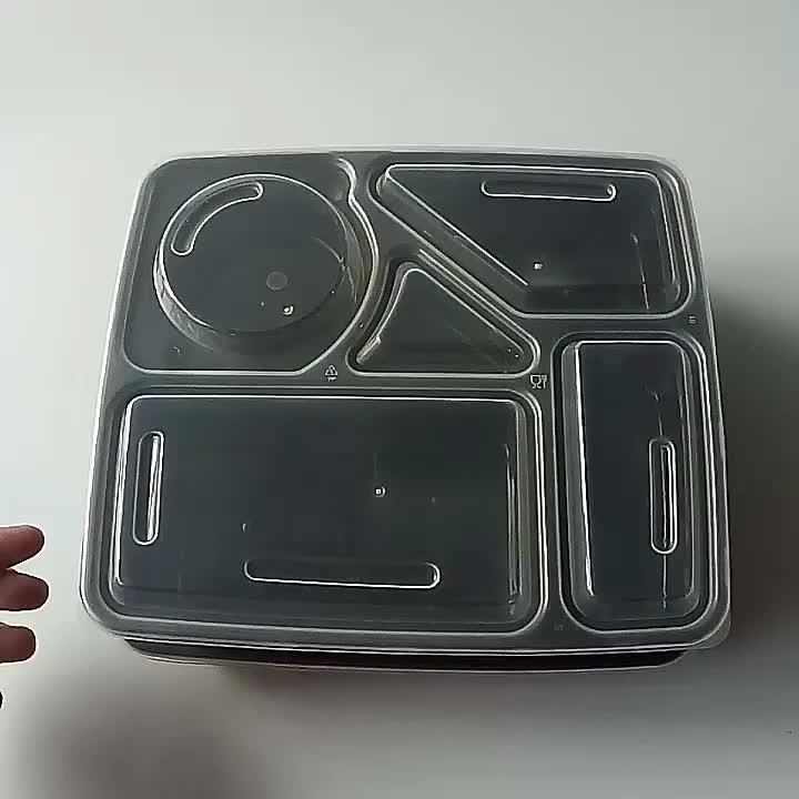 Герметичные одноразовые пластиковые ПП на вынос 5 отсек для упаковки еды контейнеры бенто ланч бокс для доставки