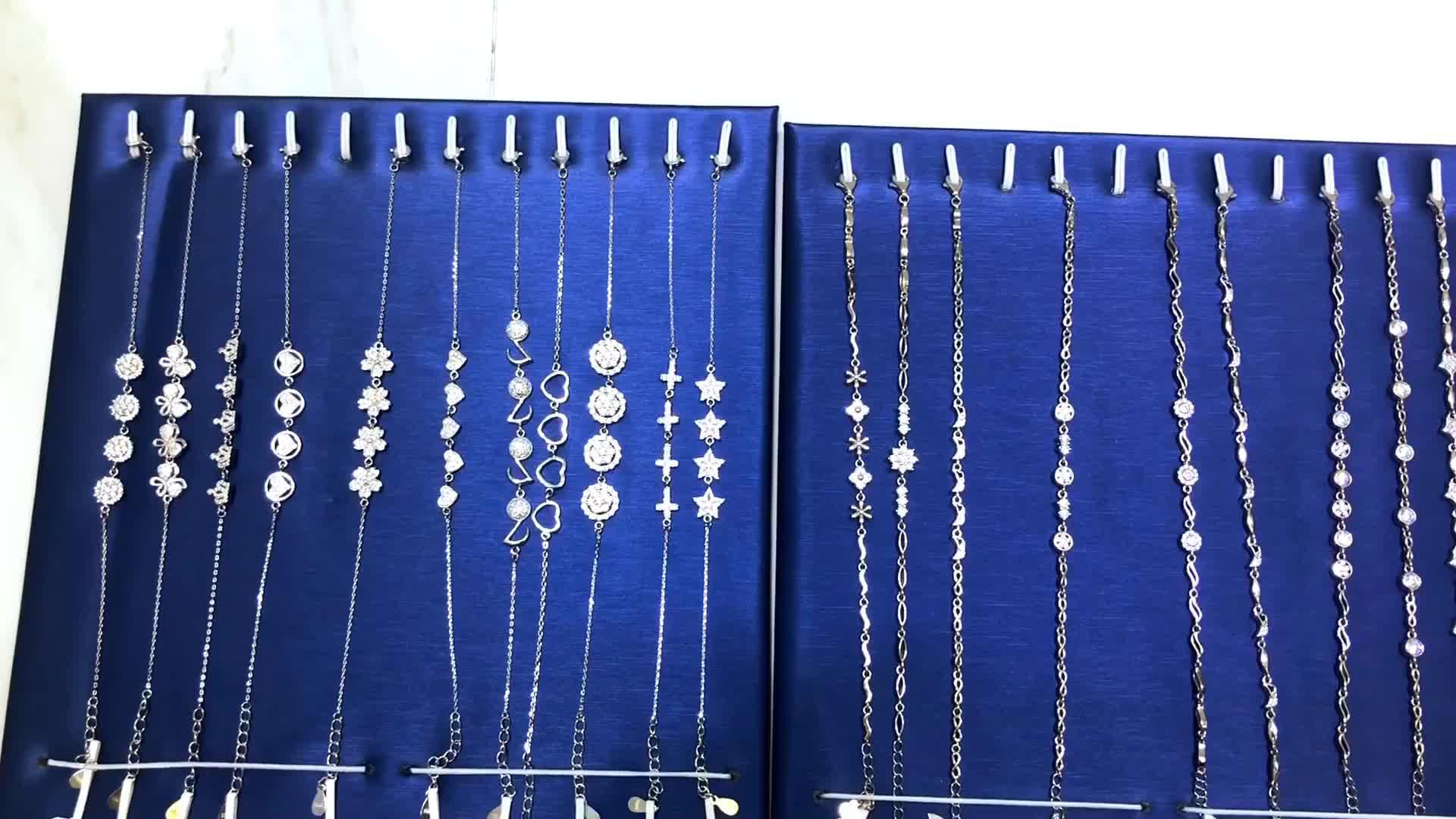 Or blanc Plaqué 925 En Argent Sterling Bracelet en Diamants