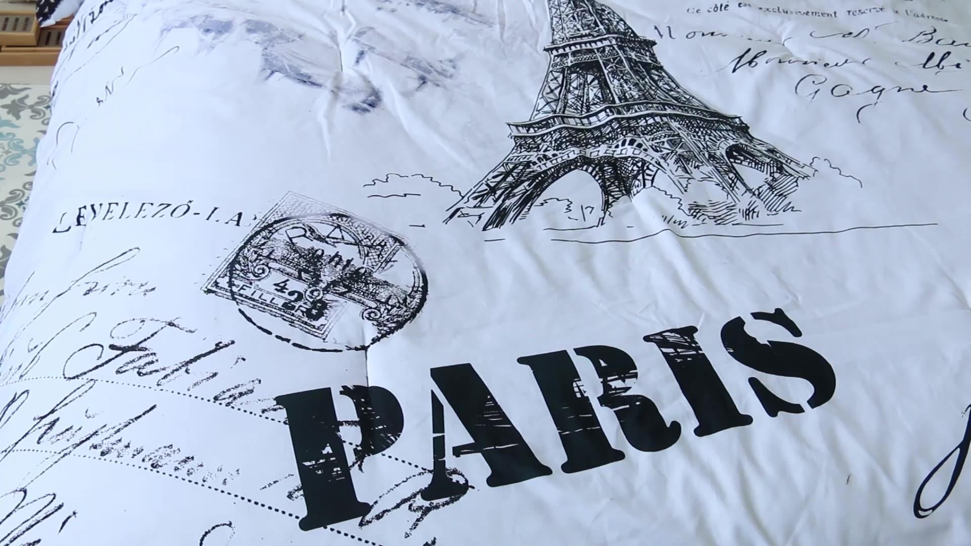 Alle Saison Mikrofaser Bettwäsche und Blatt Weiß Weich und Bequem 8 Stück Tröster Set Gedruckt Paris Stil