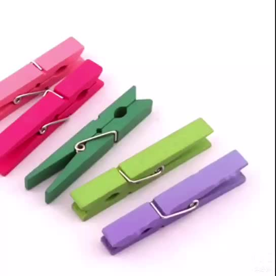Factory Sales Decorative Wood Clothes Pegs Clips Wooden Craft Peg Paper Clip