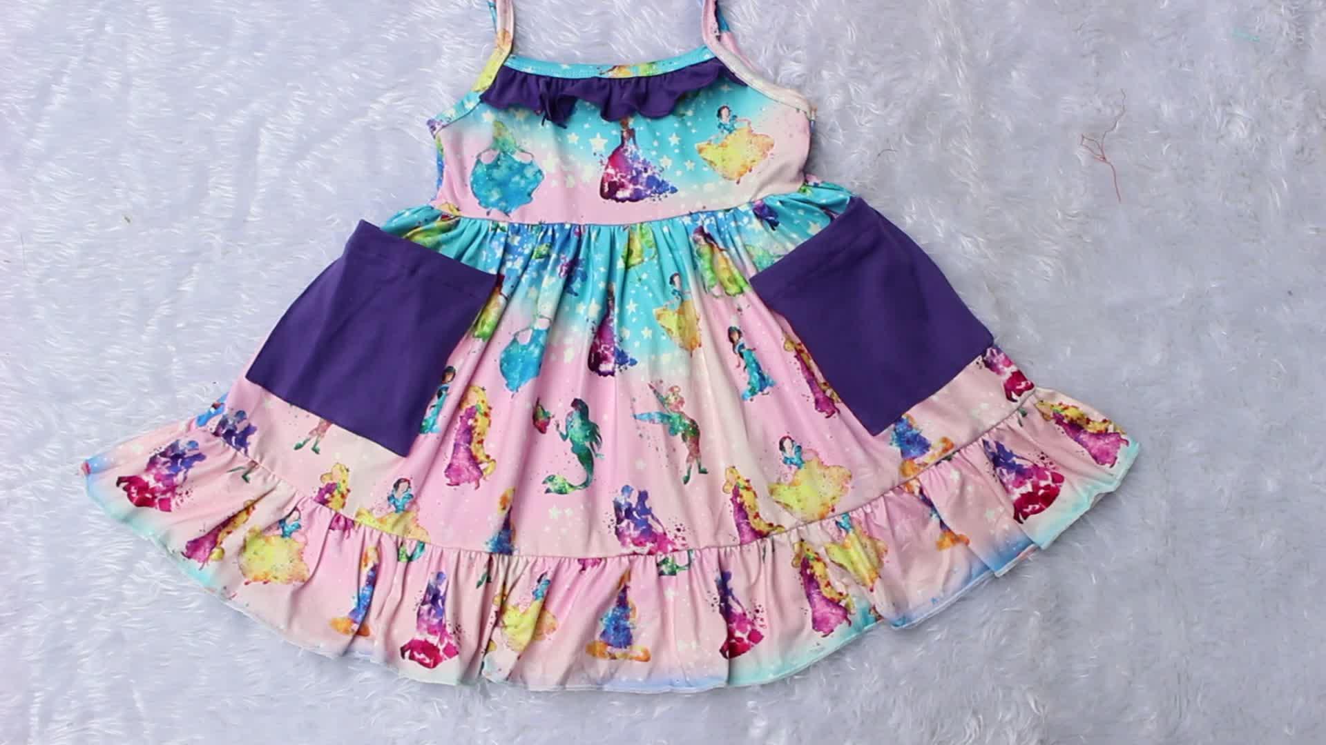 Toptan kız elbise bebek parti çarpıntı fırfır bebek pamuk elbise çocuk bahar 3/4 kollu yaz butik Maxi elbise