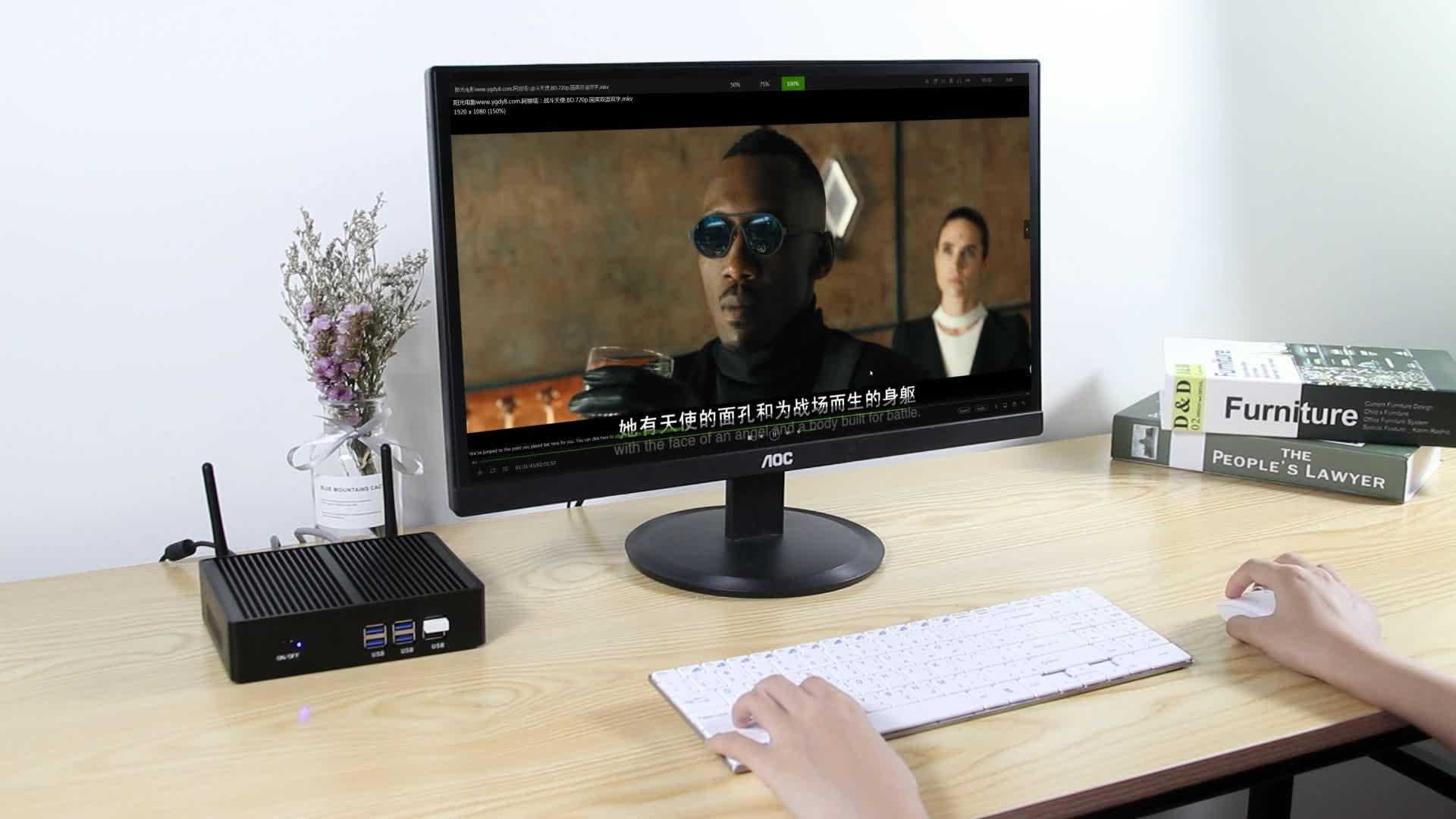 XCY 미니 pc 승 10 프로세서 셀러론 3755U 사무실 computador 듀얼 디스플레이 300 M 무선