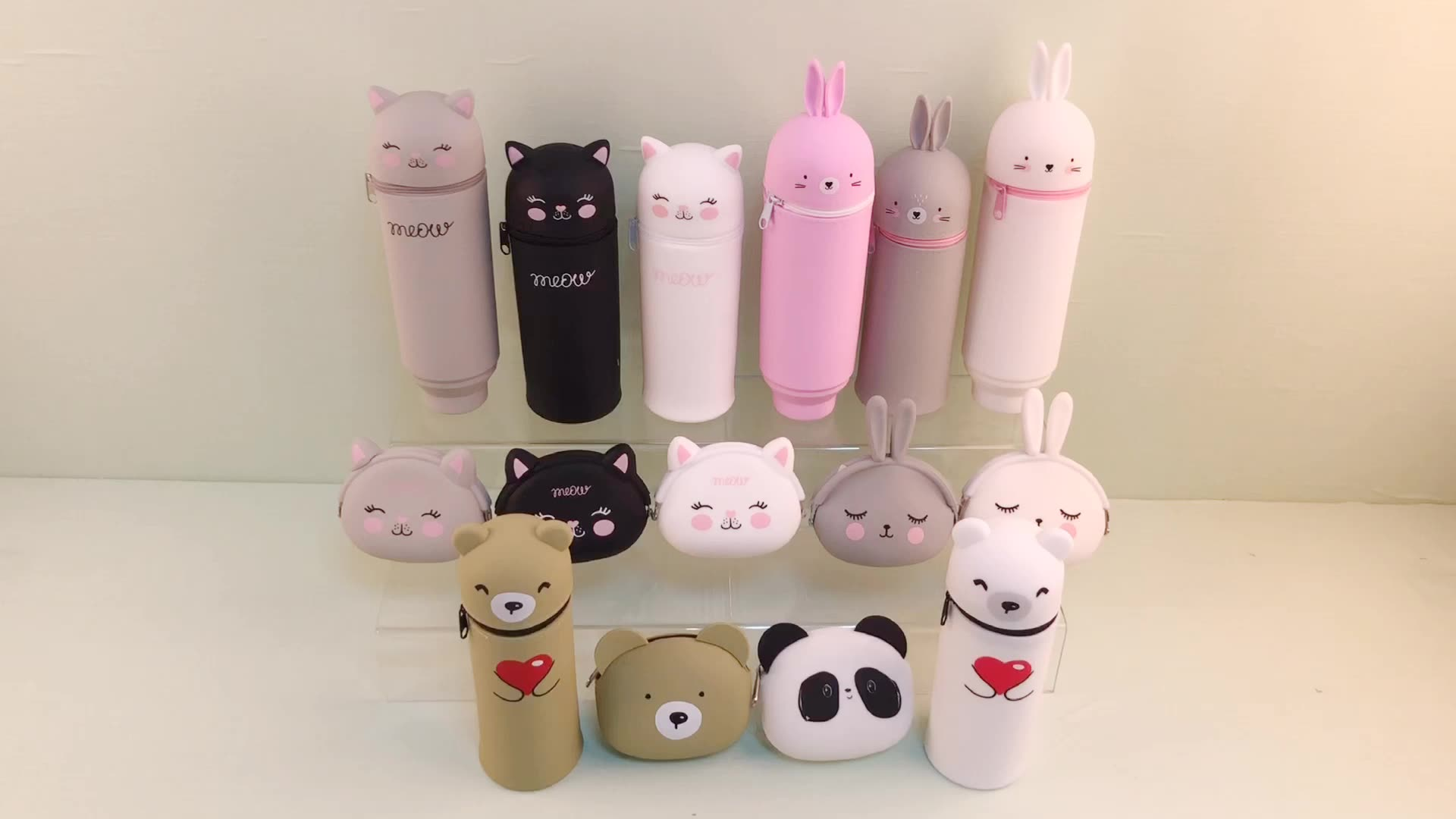 cat lovely silicone pencil pouch cartoon cute stand up pouch for kids