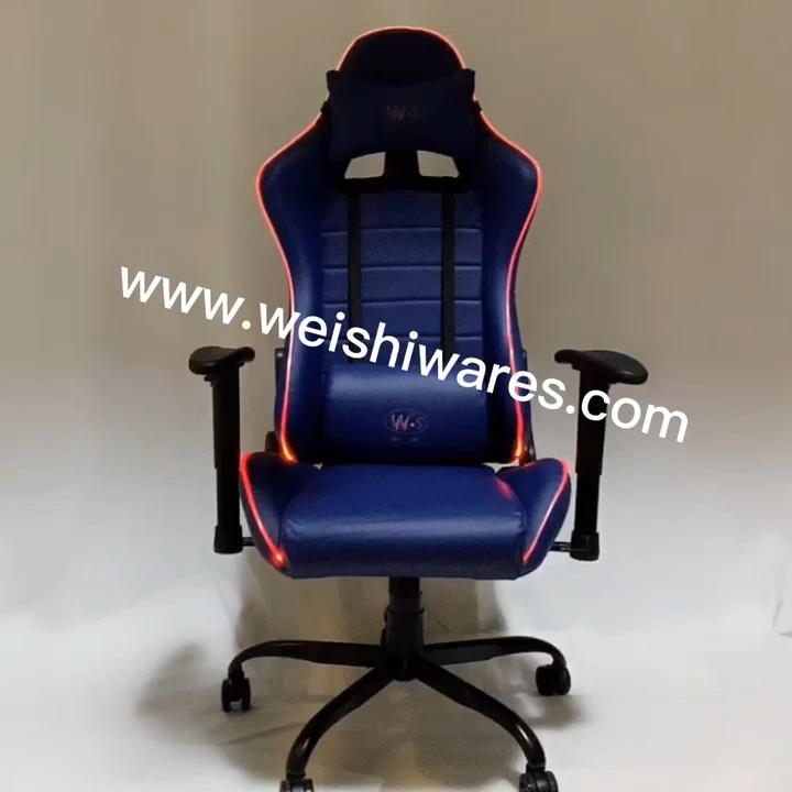 WSZ1001 RGB LED 빛 공장 가격 도매 조명 게임 의자 고품질 기어오르는 경주 좌석 컴퓨터 의자 게이머