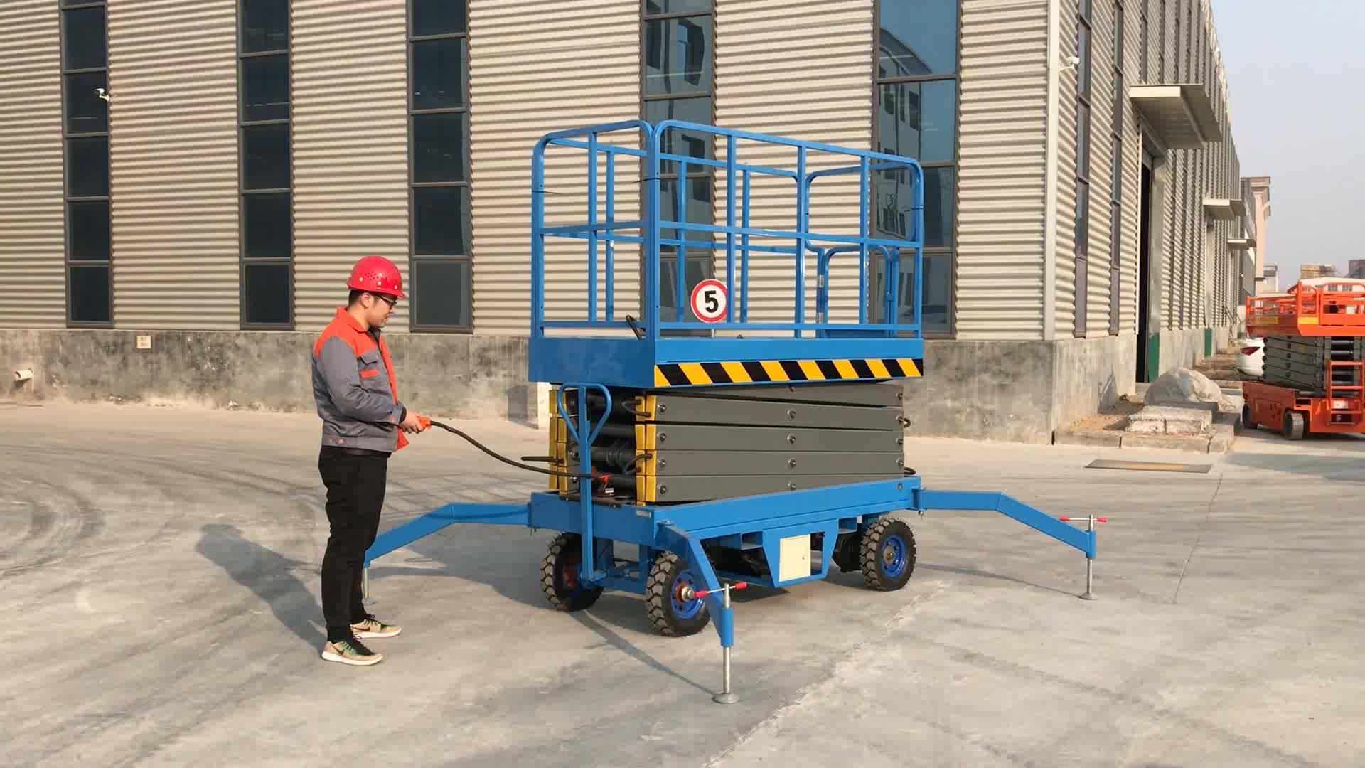 Capaciteit 500 kg Elektrische Hydraulische Schaarlift Batterij Aangedreven Mobiele Wasstraat Machine