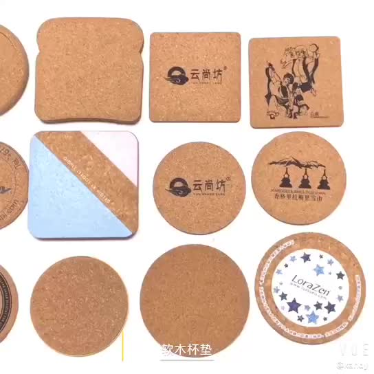 Amazon Promotional Metal Holder mdf blank natural Cork drink coaster