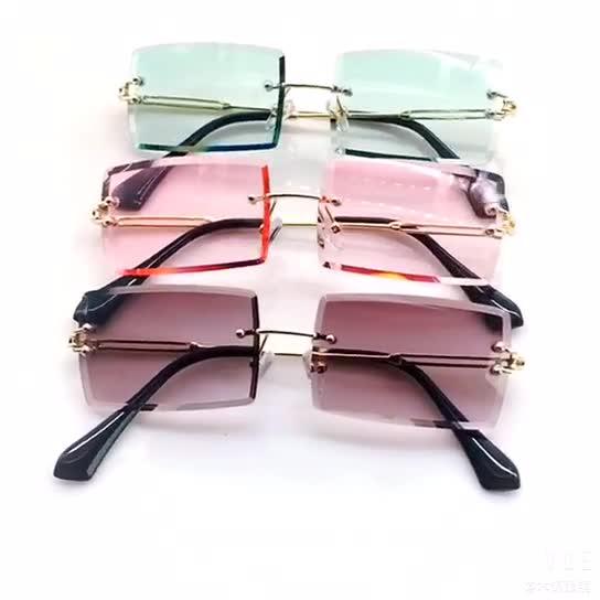 2019 แว่นตากันแดดรูปสี่เหลี่ยมผืนผ้าผู้หญิงขนาดเล็ก rimless shades แบรนด์ designer square แว่นตา sun สำหรับหญิง
